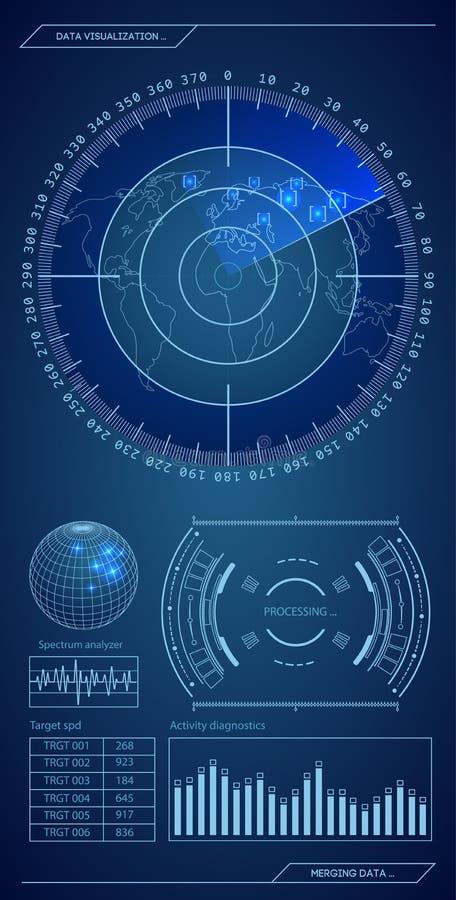 Militaire blauwe radar Het scherm met doel Futuristisch Hud Interface De VectorIllustratie van de voorraad royalty-vrije illustratie