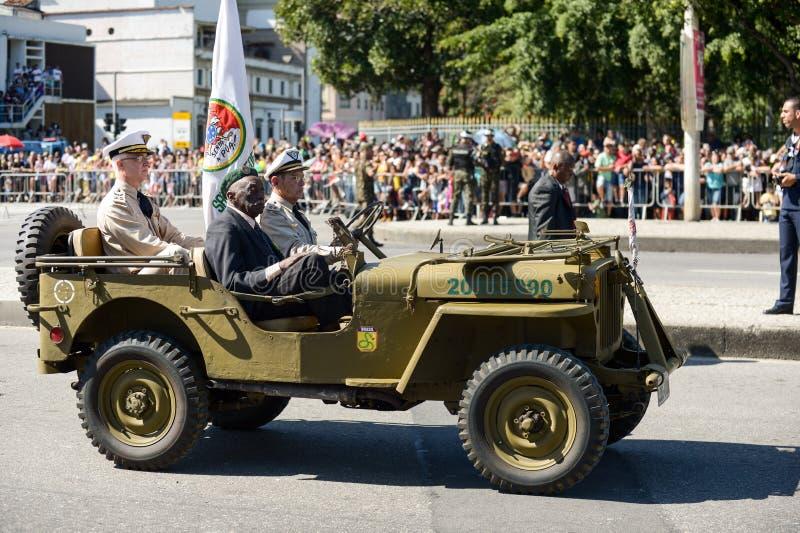 militaire burgerparade die de onafhankelijkheid van Brazilië vieren stock fotografie