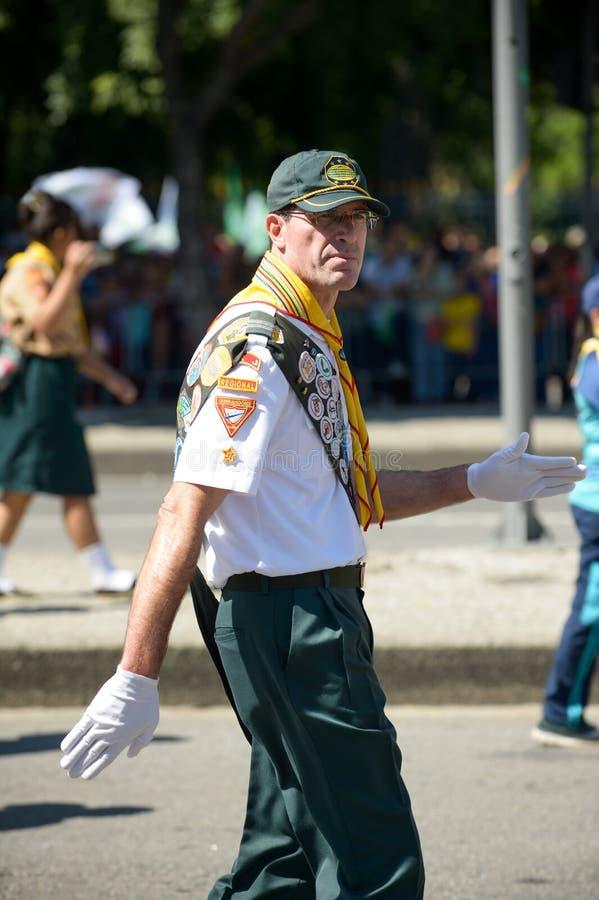 militaire burgerparade die de onafhankelijkheid van Brazilië vieren royalty-vrije stock fotografie