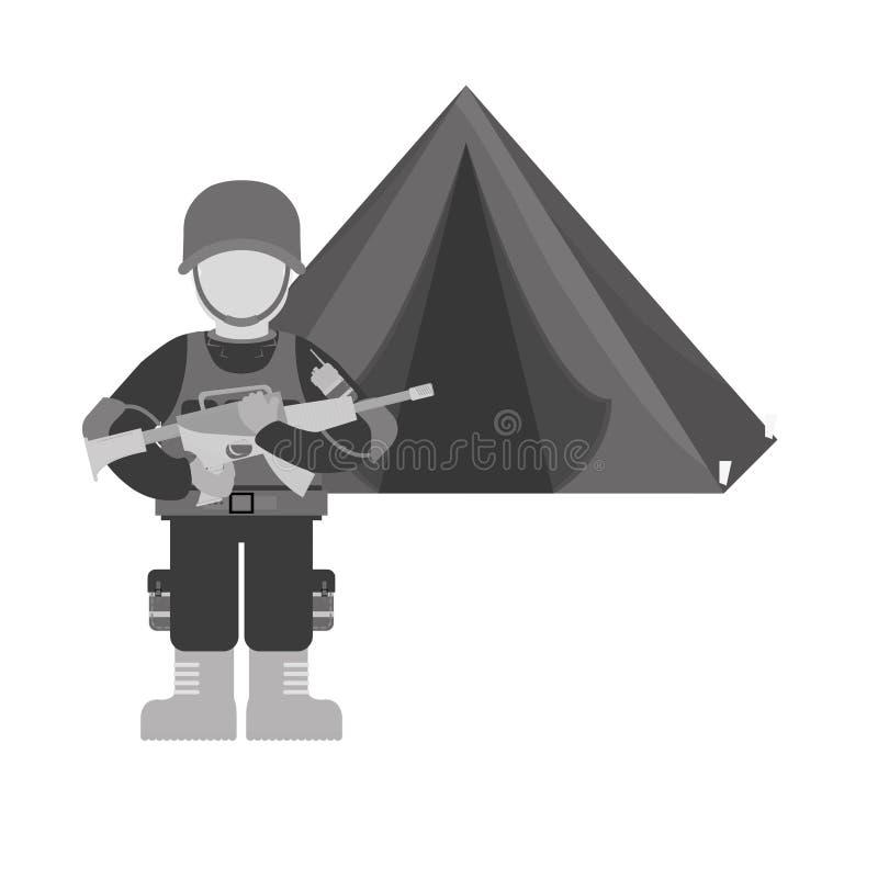 Militaire contour met zijn oorlogsteam en zijn kamp royalty-vrije illustratie