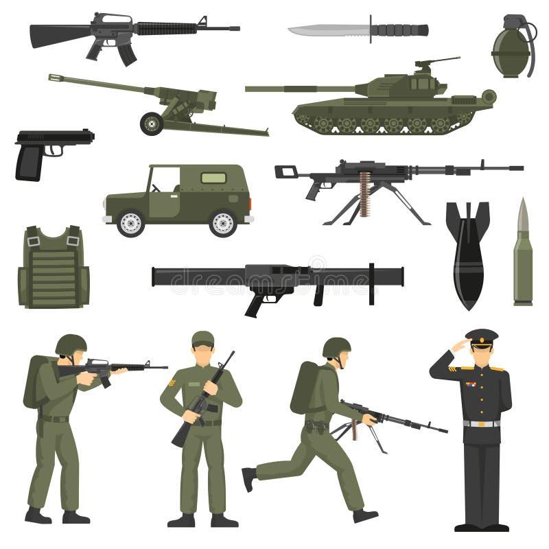 Militaire de Pictogrammeninzameling van de Leger Kaki Kleur royalty-vrije illustratie