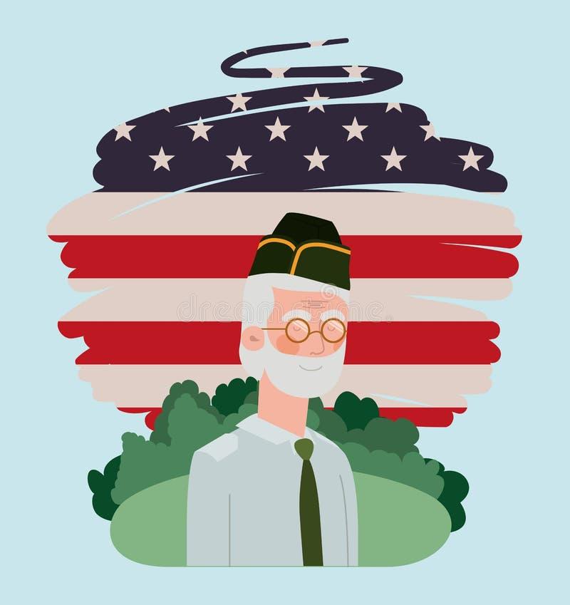 Militaire de vétéran avec le drapeau des Etats-Unis peint dans le domaine illustration stock