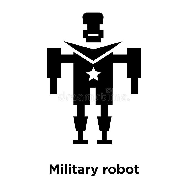 Militaire die het pictogramvector van de robotmachine op witte achtergrond wordt geïsoleerd, vector illustratie