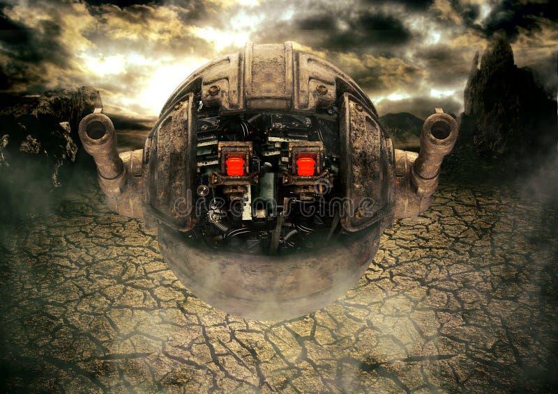 Militaire drone-robot op een buitenaardse planeet in een gevechtspositie met zwaar wapen Begrip kunstwetenschappen fictie van int stock illustratie
