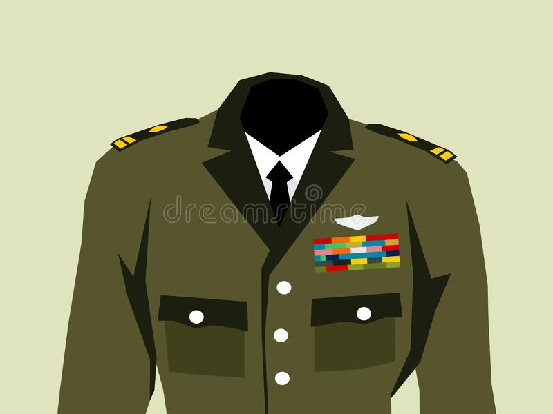 Militaire eenvormig met hoge ambtenaren weelderige insignes vector illustratie