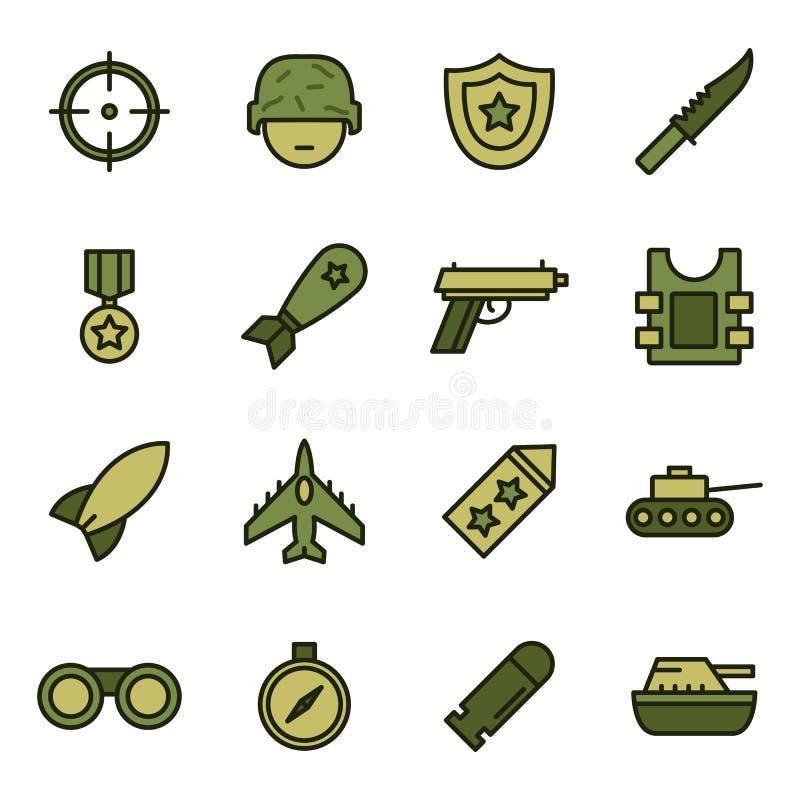 Militaire en oorlogspictogrammen stock illustratie