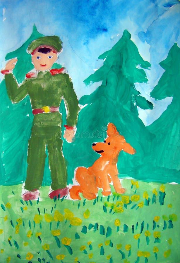 Militaire et son chien - peinture de gouache faite par l'enfant illustration de vecteur