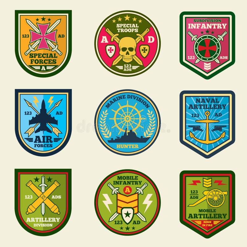 Militaire flarden vectorreeks De emblemen en de etiketten van legerkrachten vector illustratie
