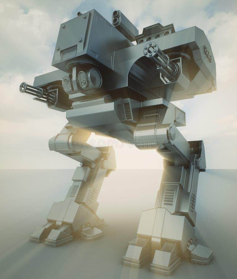 Militaire futuristische robot 3d geef terug stock illustratie