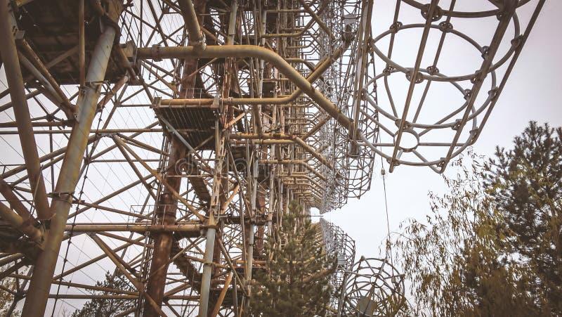Militaire geheime objecten antenneradar Doug in Tchernobyl de Oekraïne royalty-vrije stock foto's
