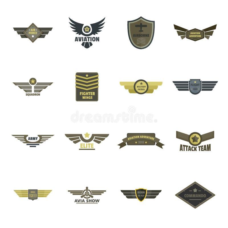 Militaire geplaatste het embleempictogrammen van de luchtmachtmarine, vlakke stijl stock illustratie