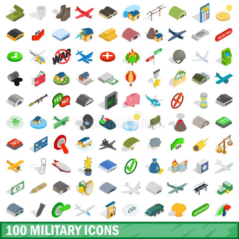 100 militaire geplaatste pictogrammen, isometrische 3d stijl vector illustratie
