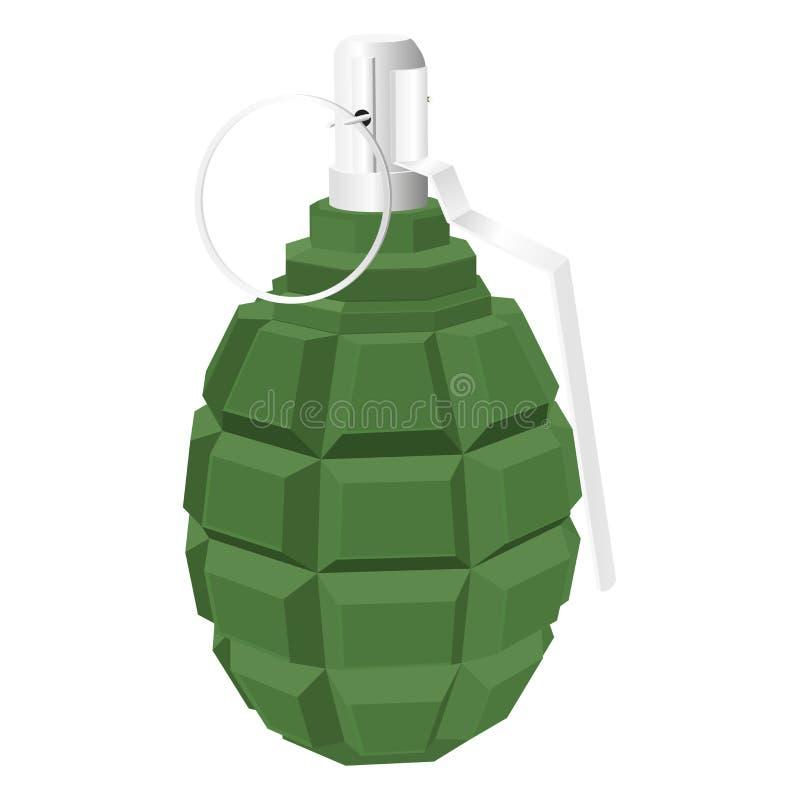 Militaire groene granaat vector 3d geïsoleerde illustratie royalty-vrije illustratie