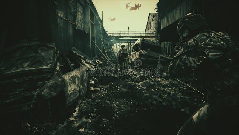 Militaire helikopters en krachten in vernietigde stad royalty-vrije illustratie