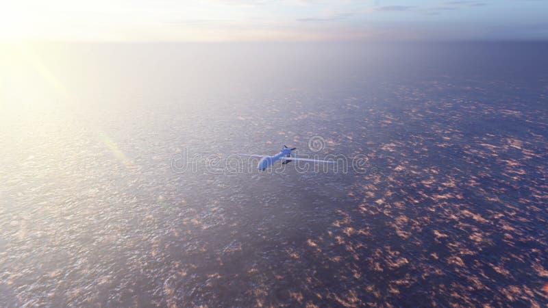 Militaire hommelvliegen over de oceaan bij zonsopgang Het concept militaire wapens het 3d teruggeven royalty-vrije illustratie