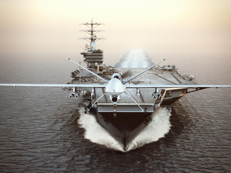 Militaire Hommelvliegtuigen die van een vliegdekschip op een stakingsopdracht lanceren