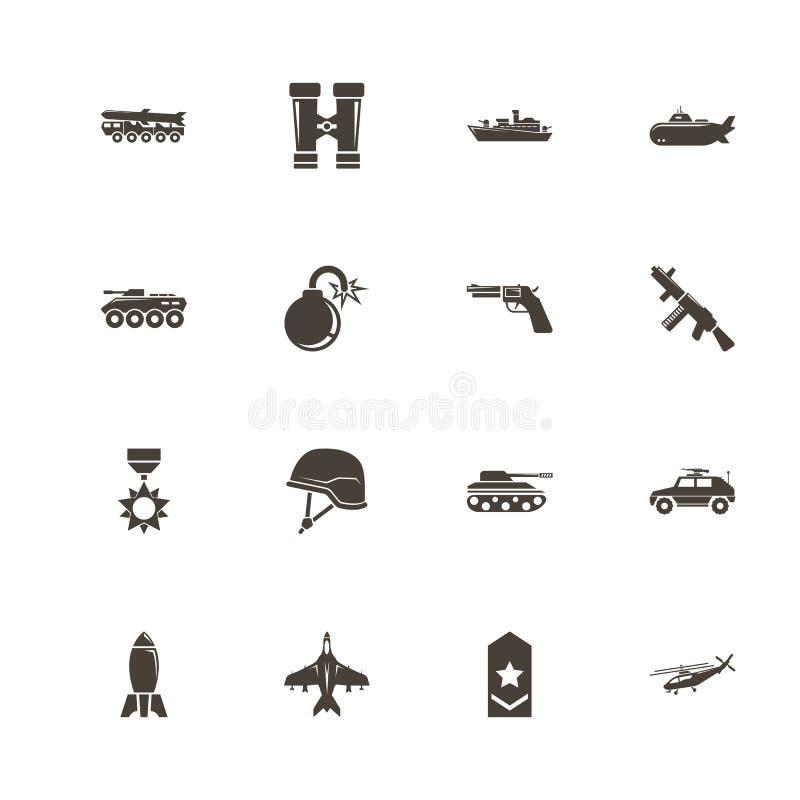 Militaire - icônes plates de vecteur illustration de vecteur