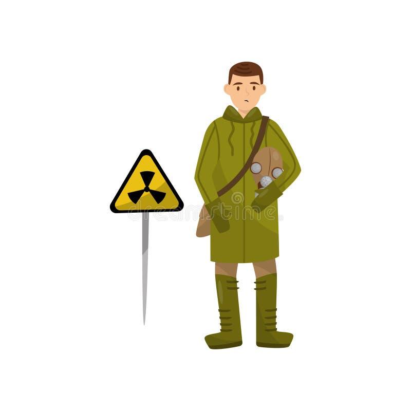 Militaire mens in beschermende kleding en gasmasker die volgende gevarendriehoekteken van stralingsgevaar bevinden zich, milieu royalty-vrije illustratie