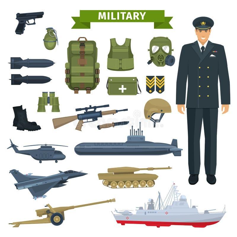 Militaire mens met wapen, persoonlijk materiaalpictogram stock illustratie