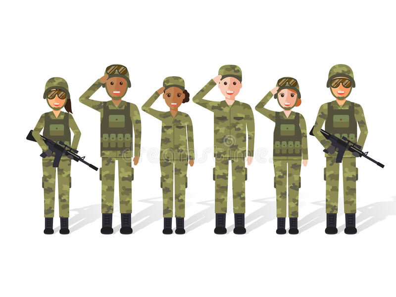 Militaire mensen royalty-vrije illustratie