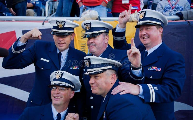 Militaire mensen bij het spel van Patriotten royalty-vrije stock fotografie