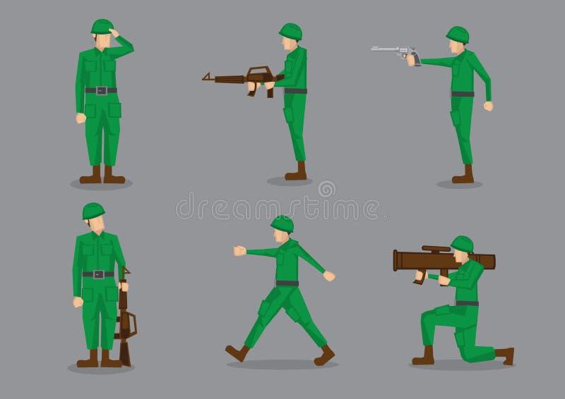 Militaire Militairen in Groene Eenvormig royalty-vrije illustratie