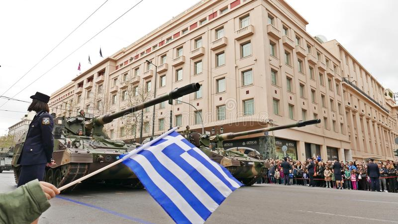 Militaire parade in Athene stock foto's