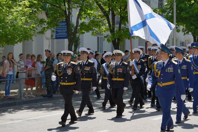 Militaire parade in Sebastopol, de Oekraïne royalty-vrije stock afbeelding