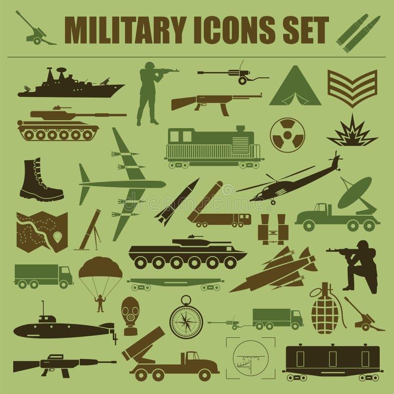 Militaire pictogramreeks Aannemer, uitrusting royalty-vrije illustratie