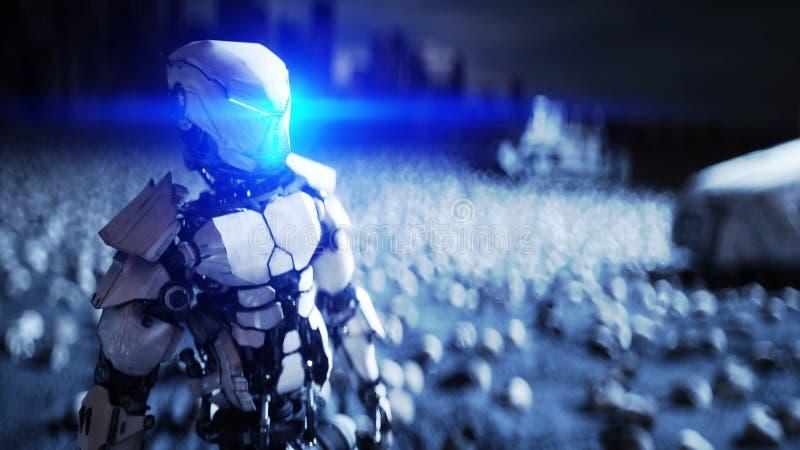 Militaire robot en schedels van mensen Dramatisch apocalyps super realistisch concept Stijging Machines Donkere toekomst 3d vector illustratie