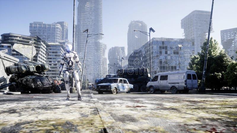 Militaire robot in vernietigde stad Toekomstig apocalypsconcept het 3d teruggeven vector illustratie