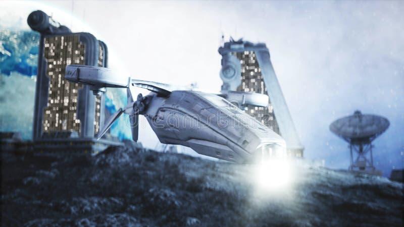 Militaire ruimteschipvlieg op maan Maankolonie Aarde backround het 3d teruggeven stock illustratie