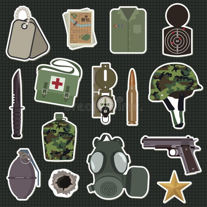 Militaire stickers stock illustratie