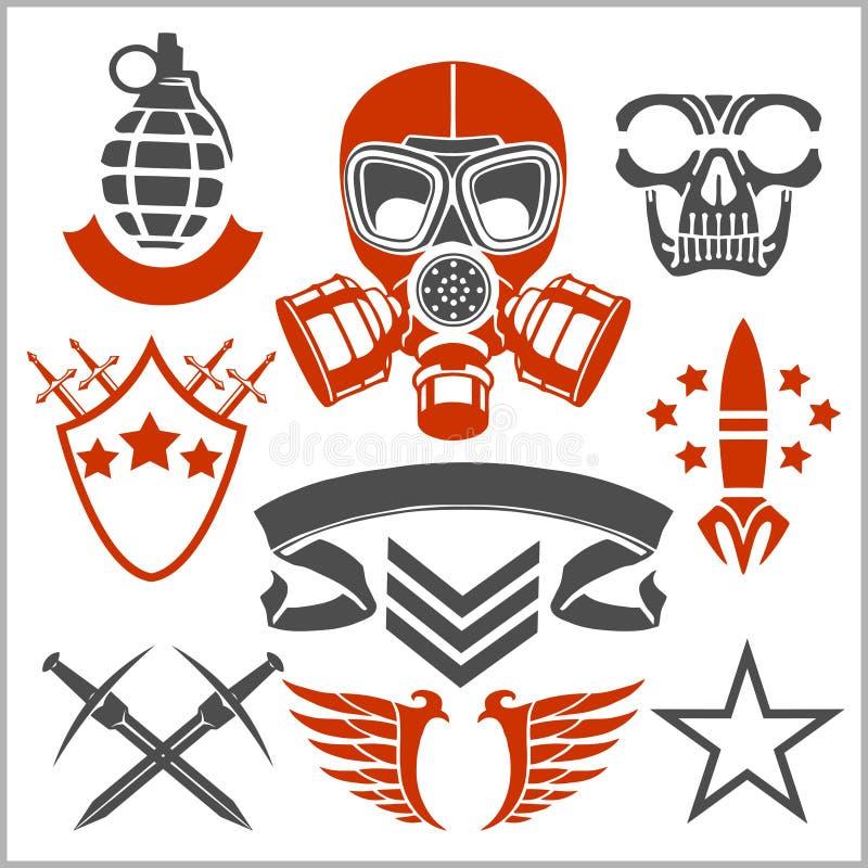 Militaire symbolen met wapen en eenvormige mensen royalty-vrije illustratie
