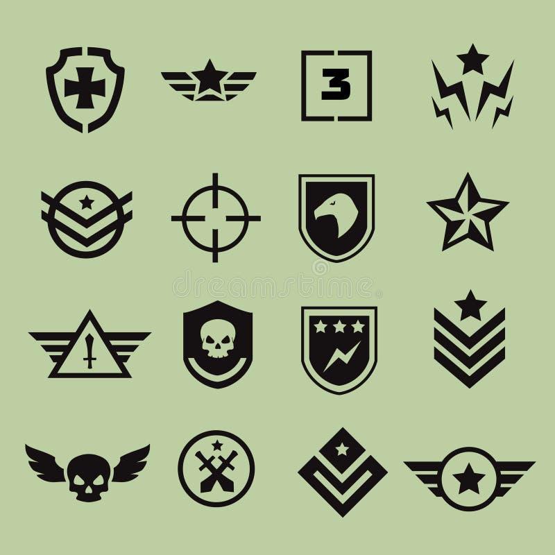 Militaire symboolpictogrammen royalty-vrije illustratie