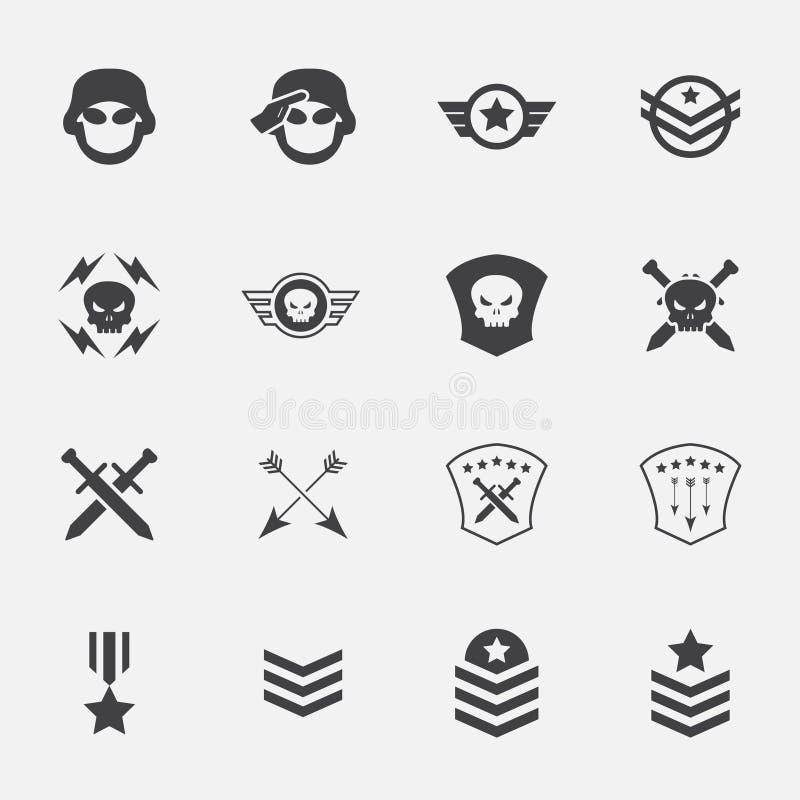 Militaire symboolpictogrammen Vector Illustratie royalty-vrije illustratie