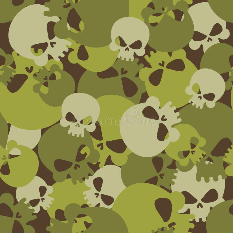Militaire textuur van schedels Het naadloze patroon van het camouflageleger voor vector illustratie