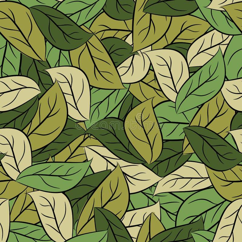 Militaire textuurbladeren Legercamouflage van gebladerte Naadloos patroon stock illustratie