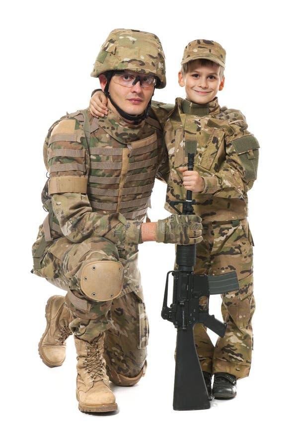 Militaire Vader en Zoon royalty-vrije stock afbeeldingen