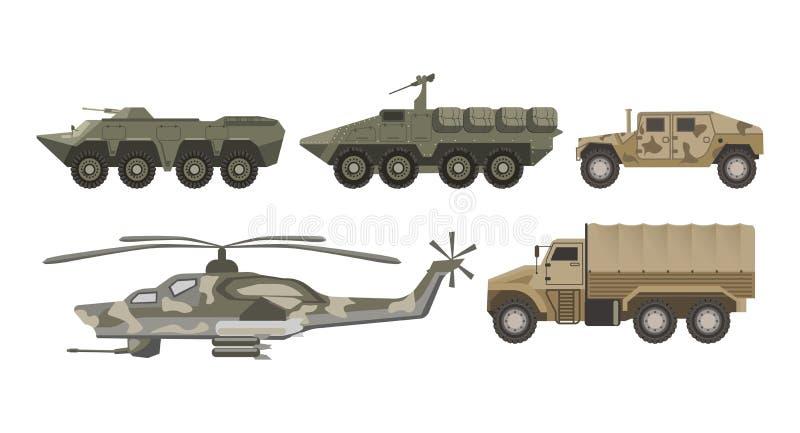 Militaire vervoer en van de legerluchtvaart geplaatste machinesvector geïsoleerde pictogrammen vector illustratie