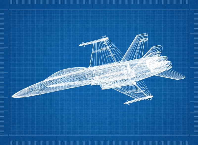 Militaire Vliegtuig 3D blauwdruk stock foto's
