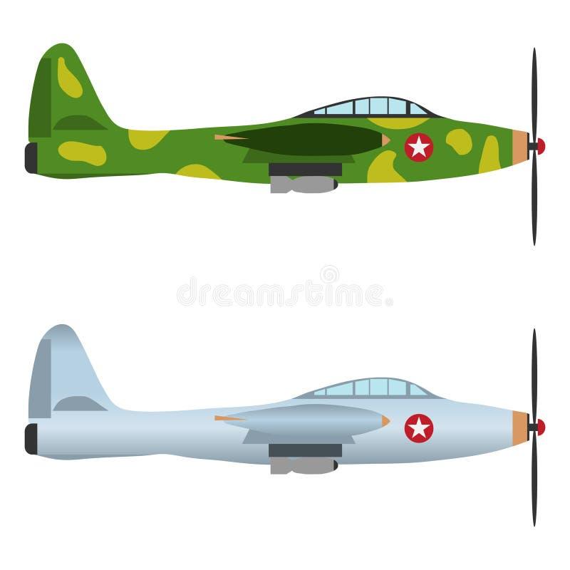 Militaire vliegtuigen, vechter vector illustratie