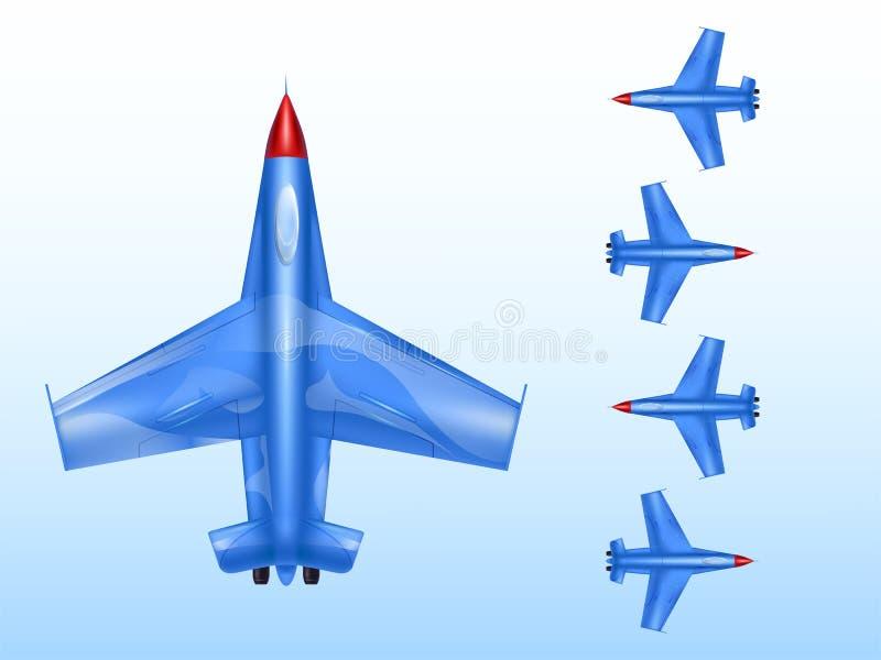 Militaire vliegtuigen vectorillustratie van luchtvaart en gevechtsvliegtuig in oorlogstijd of supersonische bommenwerpers straalp stock illustratie