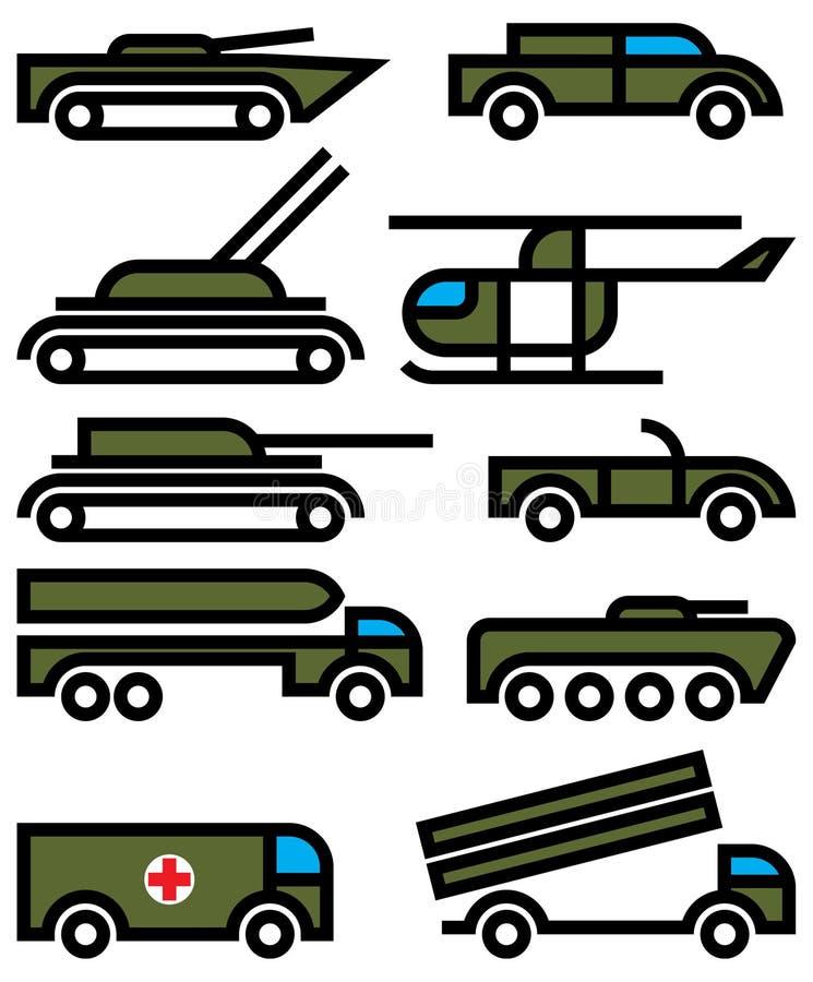 Militaire voertuigen en apparatuur vector illustratie