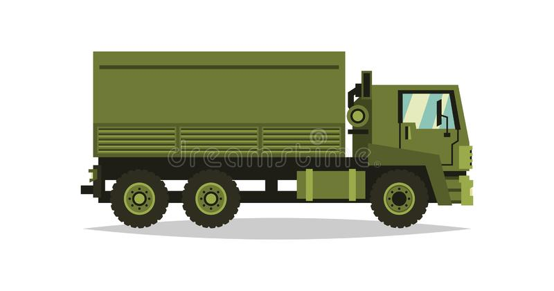 Militaire vrachtwagen Vervoervervoer van militairen De auto betrokken bij het vechten Speciale apparatuur diesel Vector illustrat stock illustratie