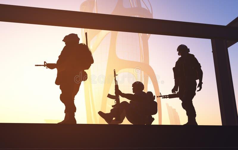Militairen in de Stad vector illustratie