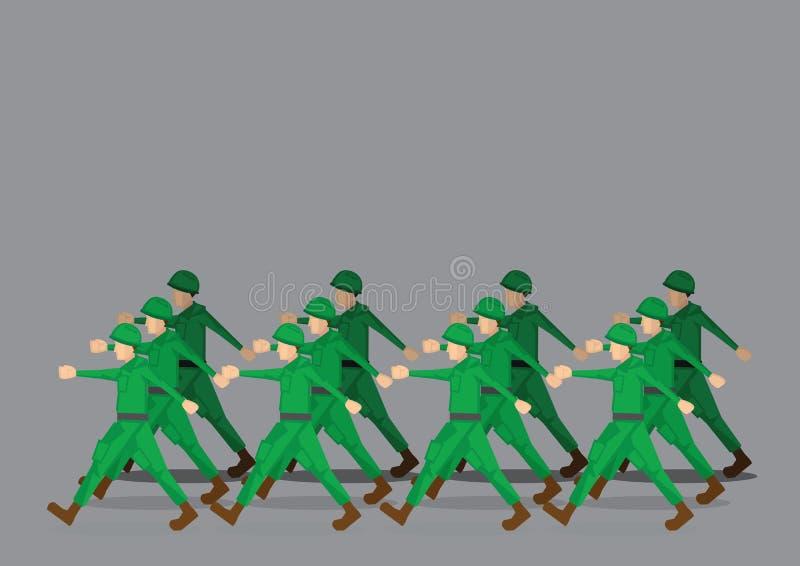 Militairen die in Militaire Parade marcheren vector illustratie