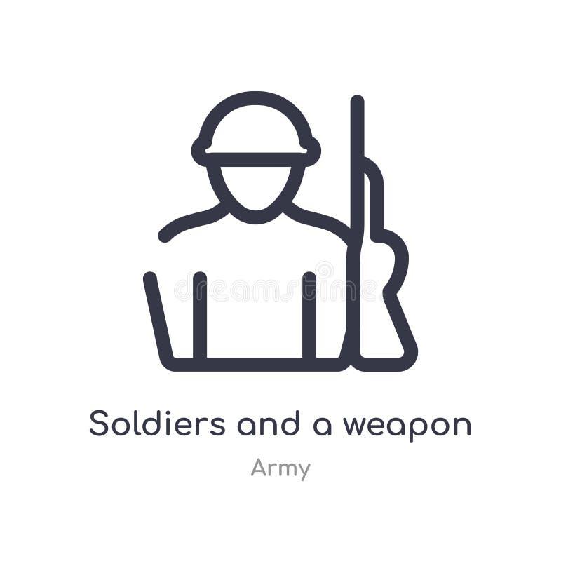 militairen en een pictogram van het wapenoverzicht ge?soleerde lijn vectorillustratie van legerinzameling editable dunne slagmili stock illustratie