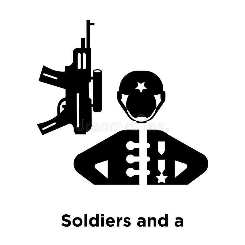 Militairen en een vector van het wapenpictogram op witte achtergrond wordt geïsoleerd die, royalty-vrije illustratie