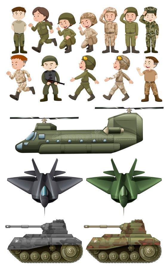 Militairen en verschillende soorten vervoer vector illustratie